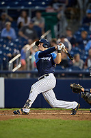 Trenton Thunder left fielder Trey Amburgey (14) flies out during a game against the New Hampshire Fisher Cats on August 19, 2018 at ARM & HAMMER Park in Trenton, New Jersey.  New Hampshire defeated Trenton 12-1.  (Mike Janes/Four Seam Images)