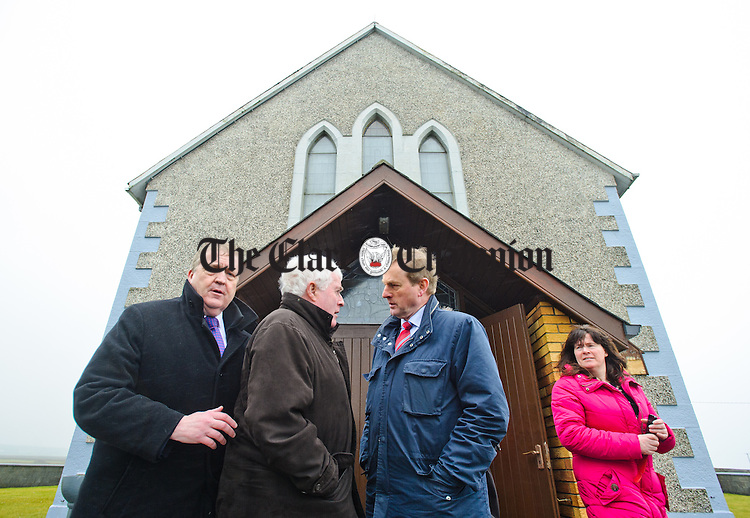 Enda Kenny, Taoiseach chatting with Johnny Igoe of Doonbeg watched by Pat Breen, TD and Marion Mc Mahon Jones during his visit to Loop Head to launch the Fine Gael tourism initiative. Photograph by John Kelly.