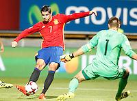Spain's Alvaro Morata (l) and Liechtenstein's Peter Jehle during FIFA World Cup 2018 Qualifying Round match. September 5,2016.(ALTERPHOTOS/Acero) /NORTEPHOTO