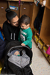 Education Preschool toddler 2s program start of day boy separating from his mother, sad