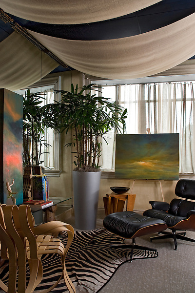 Contemporary Artist's Studio in a Traditional Home.