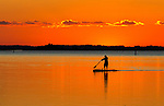 A paddle boarder makes his way during sunset at Shell Point Beach along the Forgotten Coast of Florida