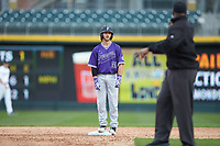 Logan Kellerman (30) of the Furman Paladins stands on second base after having been called out by third base umpire Linus Baker for passing Sterling Turmon (not pictured) on the base paths during the game against the Wake Forest Demon Deacons at BB&T BallPark on March 2, 2019 in Charlotte, North Carolina. The Demon Deacons defeated the Paladins 13-7. (Brian Westerholt/Four Seam Images)