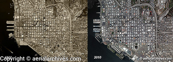 aerial photo maps of San Diego, California showing the changes that have taken place between 1966 and 2010.  Aerial Archives provides comprehensive historical and current aerial photography and satellite imagery coverage of San Diego from the 1920s through the present.