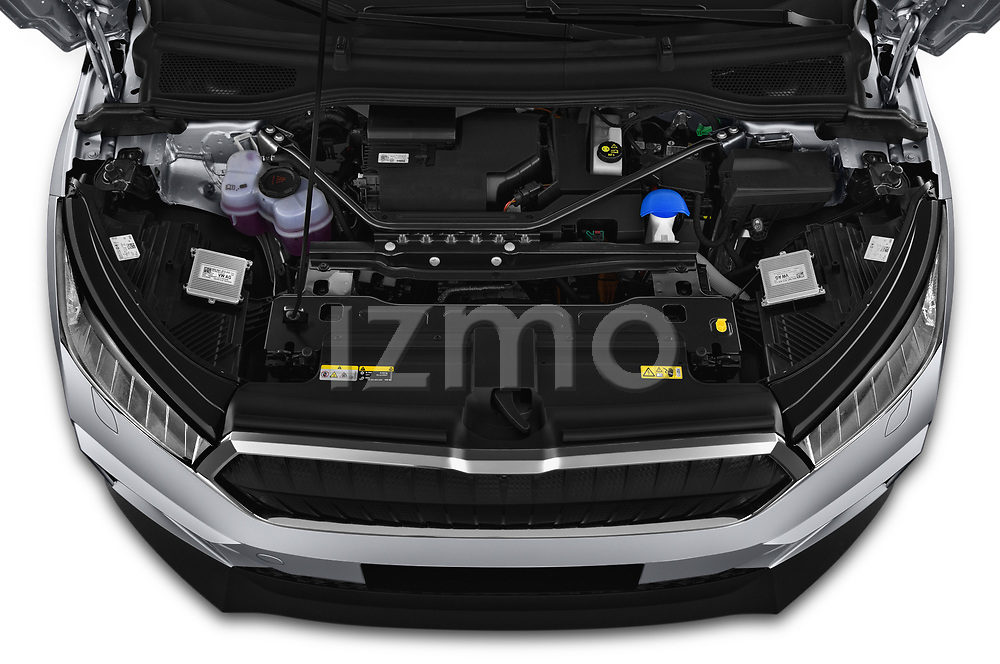 Car Stock 2021 Skoda Enyaq-iV 80 5 Door SUV Engine  high angle detail view