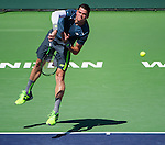 Milos Raonic (CAN) during his semifinal match against Roger Federer (SUI) at the BNP Parisbas Open in Indian Wells, CA on March 21, 2015.