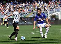 12th September 2021; G.Ferraris Stadium, Genoa, Italy; Serie A football, Sampdoria versus Inter Milan; Lautaro Martinez of Inter takes on Maya Yoshida of Sampdoria