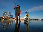 Joe Snow and his new ice saw on Yellowknife Bay