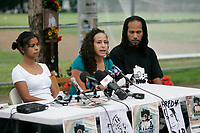 Montreal (Qc) CANADA-   August 4 2009  file photo -  Freddy Villanueva family adress the media.<br /> <br /> Villanieva was shot dead by police while tyring tp stop them to arrest  his brother Dany.