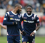 Yoann Arquin celebrates after getting the second goal for Ross County with Yann Songo'o