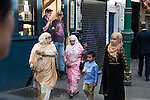 Muslim women and child Brick Lane   Tower Hamlets London E1 UK