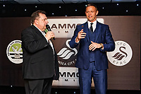 Pictured: (L-R) Kev Johns and Lee Trundle toss a coin for heads or tails. Wednesday 02 May 2018<br /> Re: Swansea City AFC Official Player Of The Season Awards Dinner 2018 at the Liberty Stadium, Wales, UK.
