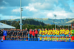 The teams line up before the Sentinel Homes Trans Tasman Series hockey match between the New Zealand Black Sticks Men and the Australian Kookaburras at Massey University Hockey Turf in Palmerston North, New Zealand on Sunday, 30 May 2021. Photo: Dave Lintott / lintottphoto.co.nz