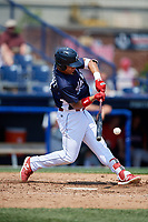 Reading Fightin Phils right fielder Jan Hernandez (3) swings at a pitch during the first game of a doubleheader against the Portland Sea Dogs on May 15, 2018 at FirstEnergy Stadium in Reading, Pennsylvania.  Portland defeated Reading 8-4.  (Mike Janes/Four Seam Images)