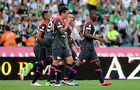 MEDELLÍN -COLOMBIA-22-MAYO-2016. Yerry Mina de Santa Fe  celebra su gol  contra Nacional  durante partido por la fecha 19 de Liga Águila I 2016 jugado en el estadio Atanasio Girardot ./ Yerry Mina  of Santa Fe celebrates his goal against Nacional during the match for the date 19 of the Aguila League I 2016 played at Atanasio Girardot  stadium in Medellin . Photo: VizzorImage / León Monsalve  / Contribuidor