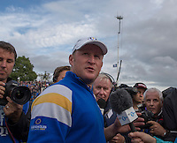 28.09.2014. Gleneagles, Auchterarder, Perthshire, Scotland. The Ryder Cup, final day.  Jamie Donaldson (EUR) is interviewed after his winning point wins the Ryder Cup for Team Europe on the 15th during Sunday Singles.  Team Europe won the trophy sixteen and a half points to eleven and a half.