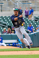 San Antonio Missions infielder Tyler Saladino (13) makes a throw to first base during a Pacific Coast League game against the Iowa Cubs on May 2, 2019 at Principal Park in Des Moines, Iowa. Iowa defeated San Antonio 8-6. (Brad Krause/Four Seam Images)