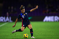 ORLANDO CITY, FL - FEBRUARY 24: Sophia Smith #17 of the USWNT kicks the ball during a game between Argentina and USWNT at Exploria Stadium on February 24, 2021 in Orlando City, Florida.