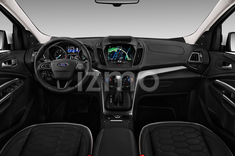 Stock photo of straight dashboard view of a 2017 Ford Kuga Vignale 5 Door SUV