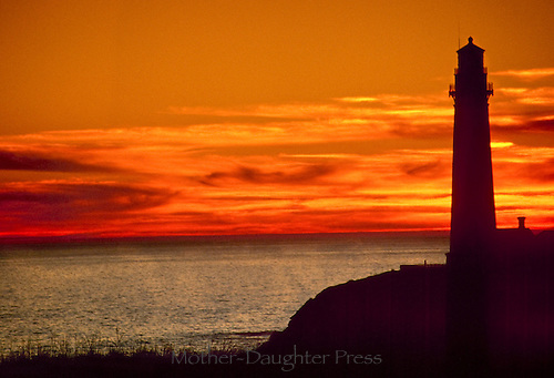 Sunset on Pacific coast at Pigeon point lighthouse, California, USA