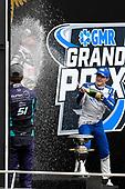 #21: Rinus VeeKay, Ed Carpenter Racing Chevrolet gets sprayed by #51: Romain Grosjean, Dale Coyne Racing with RWR Honda and #10: Alex Palou, Chip Ganassi Racing Honda