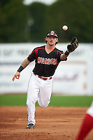 Batavia Muckdogs second baseman Taylor Munden (21) flips the ball to first during the first game of a doubleheader against the Vermont Lake Monsters August 11, 2015 at Dwyer Stadium in Batavia, New York.  Batavia defeated Vermont 6-0.  (Mike Janes/Four Seam Images)