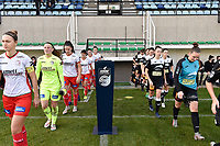 players of both teams entering the pitch pictured during a female soccer game between Eendracht Aalst and SV Zulte Waregem on the seventh matchday of the 2020 - 2021 season of Belgian Scooore Womens Super League , Saturday 14 th of November 2020  in Aalst , Belgium . PHOTO SPORTPIX.BE | SPP | DIRK VUYLSTEKE