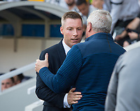 Millwall's manager Neil Harris and Aston Villa manager Steve Bruce  before  the Sky Bet Championship match between Millwall and Aston Villa at The Den, London, England on 6 May 2018. Photo by Andrew Aleksiejczuk / PRiME Media Images.
