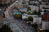 Moscow, Russia<br /> September 17, 2009<br /> <br /> A view of Moscow's serious evening rush-hour traffic on ulitsa Zatsepskiy Val heading out of the city - seen from the City Space Bar & Lounge a 360 degree panoramic cocktail bar on the top - 34th floor of the 5-star Swissotel Krasnye Holmy Hotel.