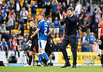 St Johnstone v Rangers…11.09.21  McDiarmid Park    SPFL<br />Rangers boss Steven Gerrard applauds the fans at full time<br />Picture by Graeme Hart.<br />Copyright Perthshire Picture Agency<br />Tel: 01738 623350  Mobile: 07990 594431