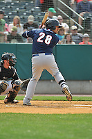 K.C. Hobson (28) of the New Hampshire Fisher Cats bats during a game between the New Britain Rock Cats and the New Hampshire Fisher Cats at New Britain Stadium on April 19, 2015 in New Britain, Connecticut.<br /> (Gregory Vasil/Four Seam Images)
