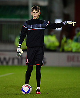 Lincoln City's Sam Long during the pre-match warm-up<br /> <br /> Photographer Andrew Vaughan/CameraSport<br /> <br /> EFL Papa John's Trophy - Northern Section - Group E - Lincoln City v Manchester City U21 - Tuesday 17th November 2020 - LNER Stadium - Lincoln<br />  <br /> World Copyright © 2020 CameraSport. All rights reserved. 43 Linden Ave. Countesthorpe. Leicester. England. LE8 5PG - Tel: +44 (0) 116 277 4147 - admin@camerasport.com - www.camerasport.com