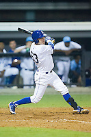 Ryan Dale (63) of the Burlington Royals follows through on his swing against the Princeton Rays at Burlington Athletic Park on July 9, 2014 in Burlington, North Carolina.  The Rays defeated the Royals 3-0.  (Brian Westerholt/Four Seam Images)