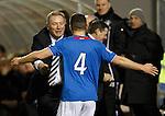 Ally McCoist greets goalscorer Fraser Aird