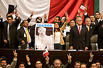 Solons of the leftist Party of Democratic Revolution take over the presidium and to stop President Vicente Fox to give his State of the Nation, September 1, 2006. Photo by Heriberto Rodriguez