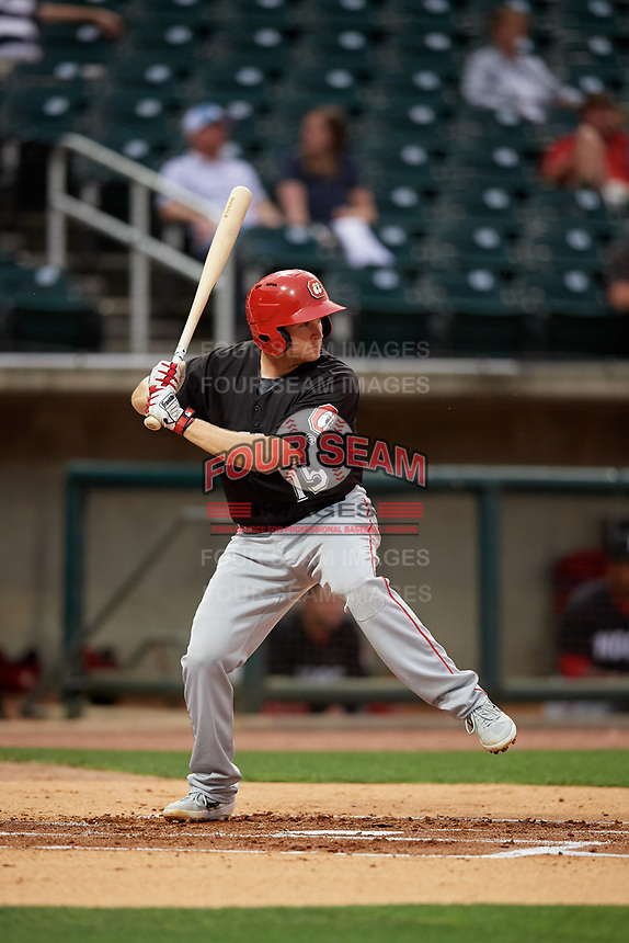 Chattanooga Lookouts Gavin LaValley (15) at bat during a Southern League game against the Birmingham Barons on May 1, 2019 at Regions Field in Birmingham, Alabama.  Chattanooga defeated Birmingham 5-0.  (Mike Janes/Four Seam Images)