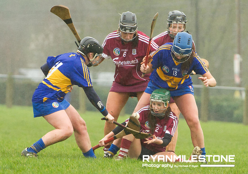 Irish Daily Star Camogie League Division One<br /> Tipperary v Galway<br /> Tara Kenny (Galway) holds off the challenge of Andrea Loughnane & Mary Ryan