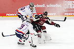 Koelns MarcelMüller (Nr.9) im Zweikampf mit Iserlohns JulianLautenschlager (Nr.19) und Iserlohns PhilipRiefers (Nr.60)  beim Spiel in der Penny DEL, Koelner Haie (dunkel) - Iserlohn Roosters (hell).<br /> <br /> Foto © PIX-Sportfotos *** Foto ist honorarpflichtig! *** Auf Anfrage in hoeherer Qualitaet/Aufloesung. Belegexemplar erbeten. Veroeffentlichung ausschliesslich fuer journalistisch-publizistische Zwecke. For editorial use only.