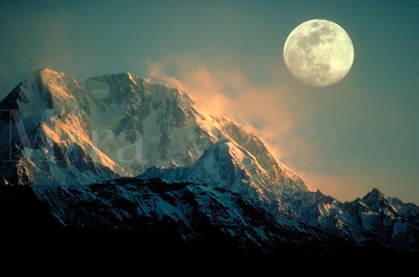 Moonrise in mountains, Pakistan. Full moon. Pakistan, Asia.