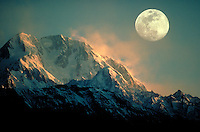 Moonrise in mountains, Pakistan. Full moon. Pakistan, Asia.