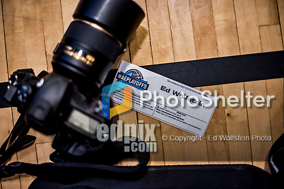 16 March 2019: A photo position is reserved for Ed Wolfstein to photograph the University of Vermont Catamount game against the UMBC Retrievers in the America East Championship Game at Patrick Gymnasium in Burlington, Vermont. The Catamounts defeated the Retrievers 66-49, avenging their loss against the same team in last years' Championship Game. Mandatory Credit: Ed Wolfstein Photo *** RAW (NEF) Image File Available ***