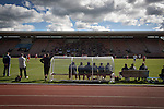 Edinburgh City 1 Brora Rangers 1, 25/04/2015. Commonwealth Stadium, Pyramid play-off 1st leg. The home team's bench watching the first half action during the first-ever pyramid play-off match between Edinburgh City (white shirts) and Brora Rangers at the Commonwealth Stadium, Meadowbank. Lowland League champions Edinburgh City and Highland League champions Brora both progressed to a play-off to decide whether there would be a club promoted to the Scottish League for the first time in its history. The match ended in a 1-1 draw, the second leg was held the following week in Brora. Photo by Colin McPherson.