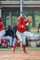 GCL Phillies second baseman Jesus Henriquez (37) at bat during a game against the GCL Tigers East on July 25, 2017 at TigerTown in Lakeland, Florida.  GCL Phillies defeated the GCL Tigers East 4-1.  (Mike Janes/Four Seam Images)