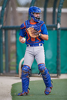 GCL Mets catcher Robby Kidwell (80) during practice before a game against the GCL Cardinals on July 23, 2017 at Roger Dean Stadium Complex in Jupiter, Florida.  GCL Cardinals defeated the GCL Mets 5-3.  (Mike Janes/Four Seam Images)