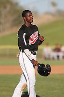 Lewis Brinson (25) of the High Desert Mavericks during a game against the San Jose Giants at Mavericks Stadium on June 14, 2015 in Adelanto, California. High Desert defeated San Jose, 7-5. (Larry Goren/Four Seam Images)