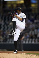 Charlotte Knights relief pitcher Juan Minaya (30) in action against the Scranton/Wilkes-Barre RailRiders at BB&T BallPark on April 12, 2018 in Charlotte, North Carolina.  The RailRiders defeated the Knights 11-1.  (Brian Westerholt/Four Seam Images)