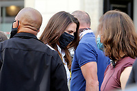 Actress Hayley Atwell wearing a face msk on the set of the film Mission Impossible 7 shot in Via Nazionale.<br /> Rome (Italy), October 9th 2020<br /> Photo Samantha Zucchi Insidefoto