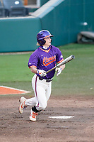 Cooper Ingle (12) of the Clemson Tigers bats in a fall Orange-Purple intrasquad scrimmage on Friday, November 13, 2020, at Doug Kingsmore Stadium in Clemson, South Carolina. (Tom Priddy/Four Seam Images)