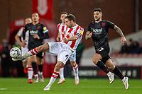 1st October 2021;  Bet365 Stadium, Stoke, Staffordshire, England; EFL Championship football, Stoke City versus West Bromwich Albion; Joe Allen of Stoke City crosses the ball