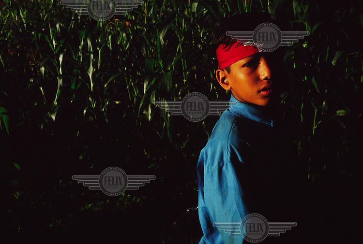 Boy wearing a red Maoist headband.
